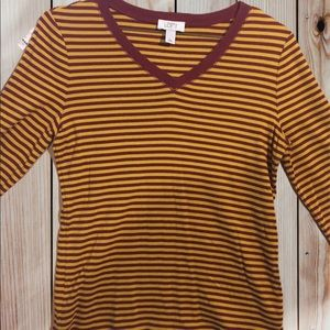Woman LOFT Yellow and Red Strip Large Shirt